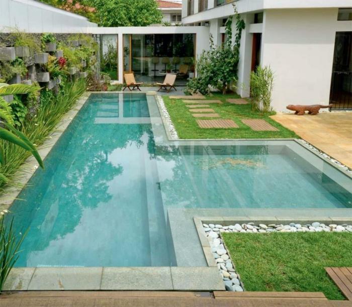 garten gestalten bilder schwimmbad pflanzen steine