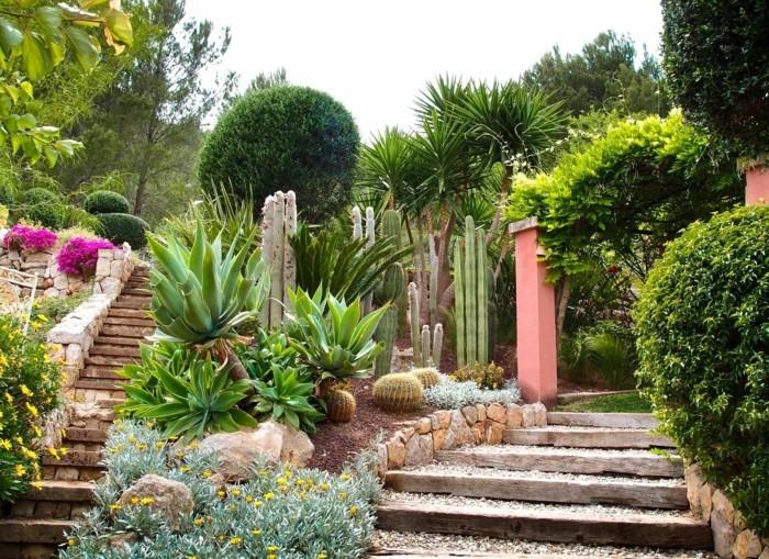 garteneinrichtung bereiche pflanzen treppen