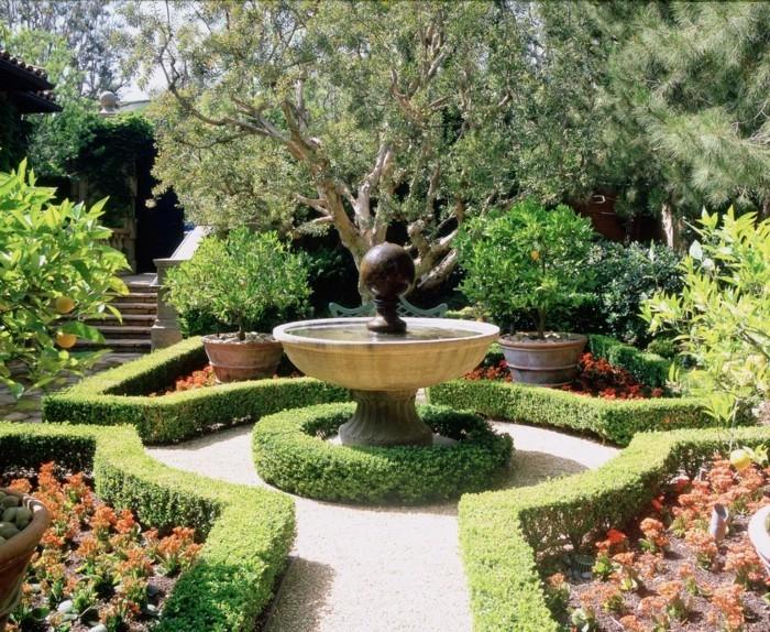 gartengestaltung ideen gartenbrunnen grün gartenideen