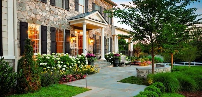 gartengestaltung ideen vorgarten gestalten steinfassade blumen