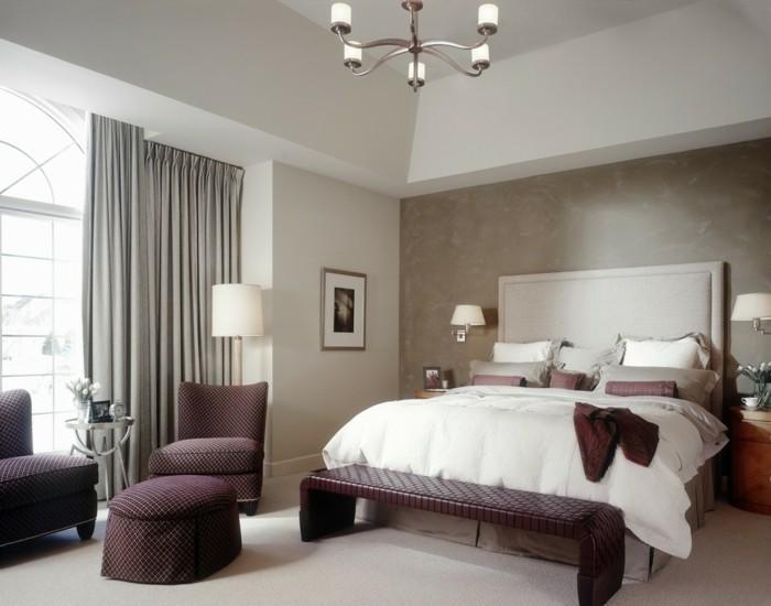 gestaltung schlafzimmer bereiche teppichboden wandleuchten
