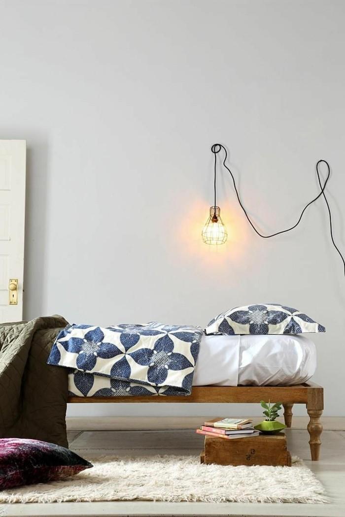 gestaltung schlafzimmer bettwäsche beleuchtung teppich