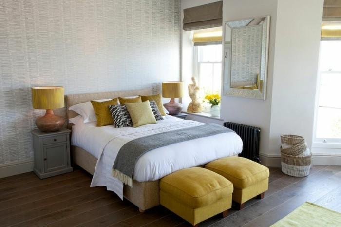 gestaltung schlafzimmer gelbe hocker holzboden schöne wandgestaltung
