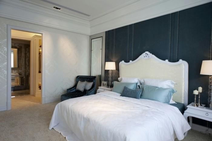 gestaltung schlafzimmer teppichboden schönes bettkopfteil