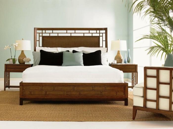 Superior Wandfarbe Schlafzimmer Holzmobel #7: Gestaltung Schlafzimmer Tropischer Stil Holzmöbel Hellgrüne Wandfarbe