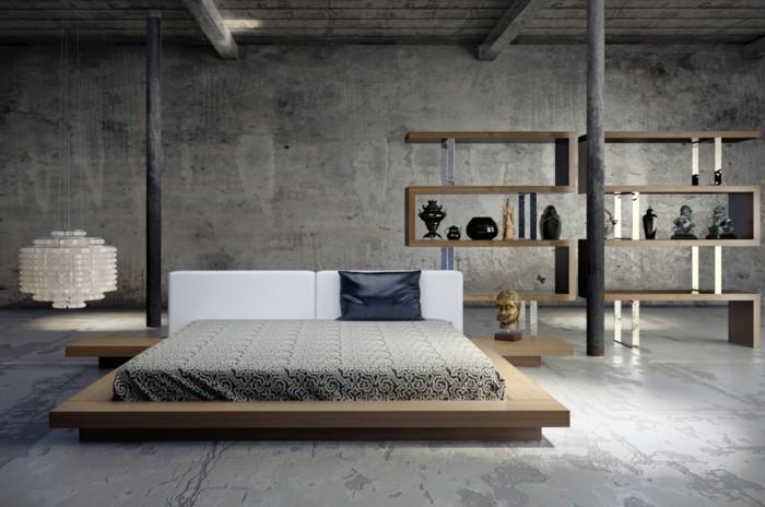 ideen für wandgestaltung betonwande wohnideen schlafzimmer hangelampe
