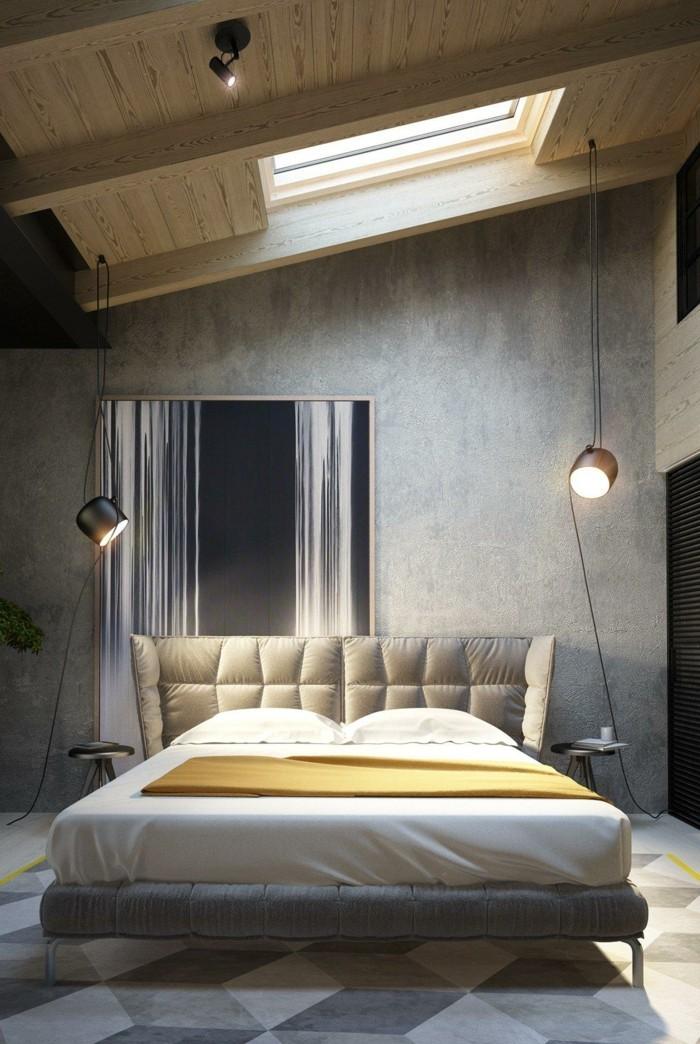 ideen für wandgestaltung schlafzimmer betonwand geometrischer teppich