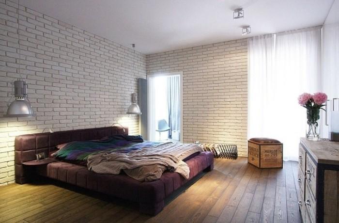 ideen für wandgestaltung schlafzimmer ziegelwand holzboden