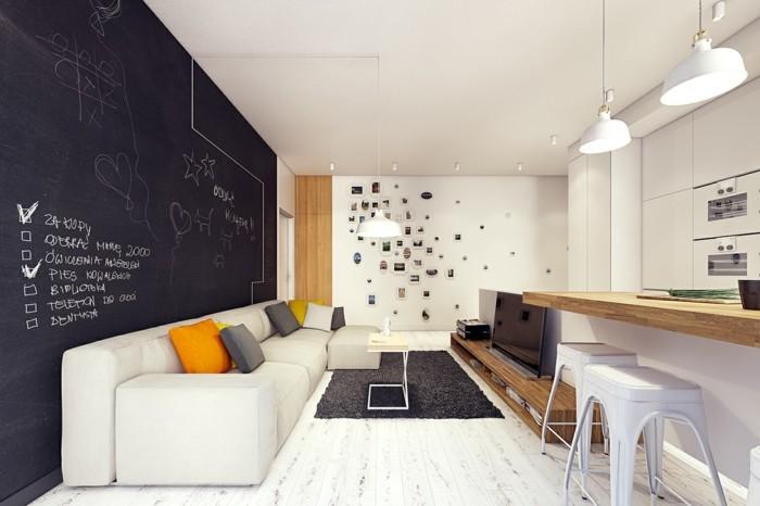 ideen für wandgestaltung wohnbereich wandtafel
