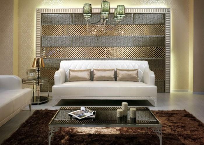 ideen für wandgestaltung wohnideen wohnzimmer beiger teppich luxuriöse möbel