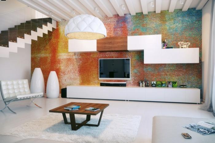 ideen fr wandgestaltung wohnideen wohnzimmer farbige ziegelwand - Wandgestaltung Wohnzimmer