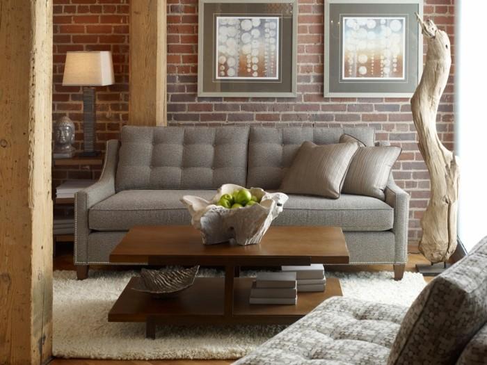 Ideen Für Wandgestaltung Wohnzimmer Einrichten Ziegelwand Holzakzente