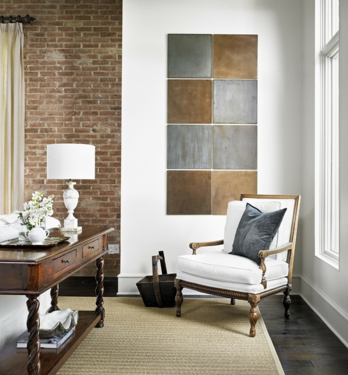 ideen für wandgestaltung wohnzimmer ziegelwand wanddeko sisalteppich