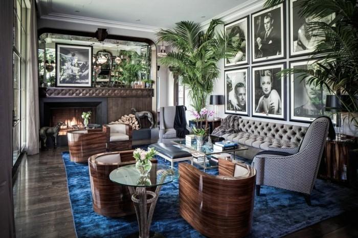 innendesign art deco wohnzimmer einrichten ideen blauer teppich schöne texturen