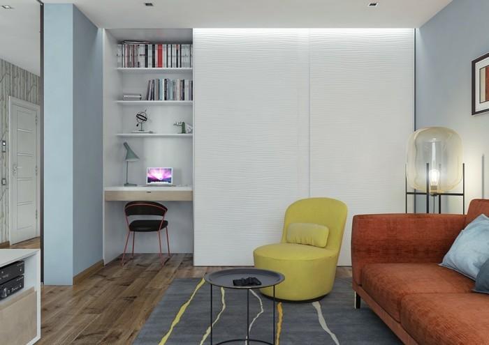 innendesign ideen retro wohnzimmer gelber sessel holzoptik bodenbelag