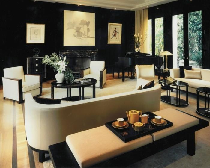 innendesign ideen schicke möbel schwarze wände art deco