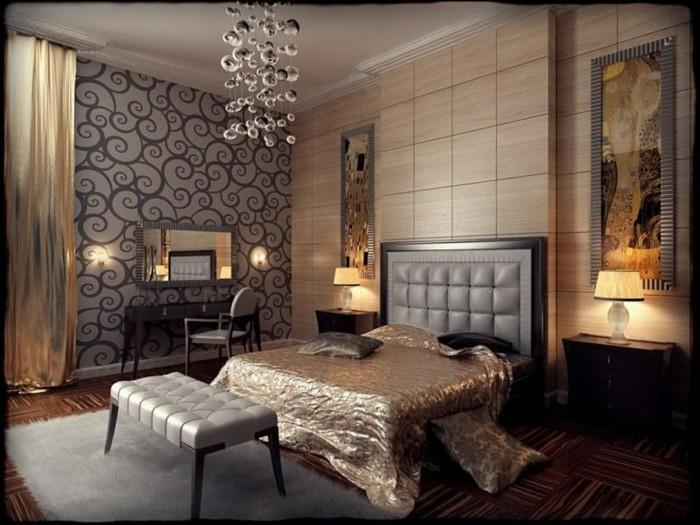 Edle Schlafzimmer Tapeten : Innendesign Ideen im Art Deco Stil lassen den Raum edler erscheinen