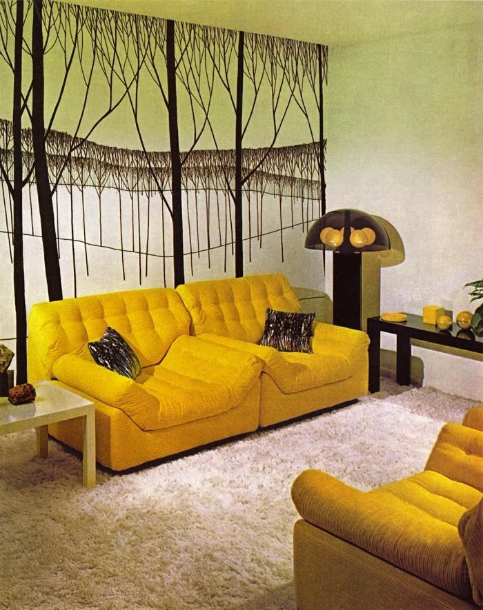 innendesign ideen wohnideen wohnzimmer gelbe sofas schöne wandgestaltung