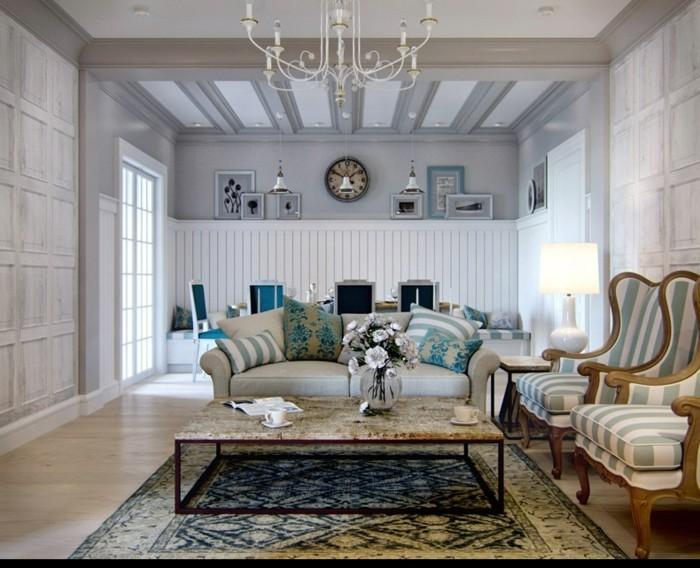 innendesign ideen wohnzimmer provence streifenmuster
