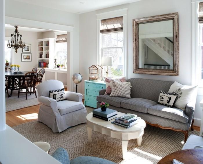innendesign ideen wohnzimmer shabby chic dekokissen