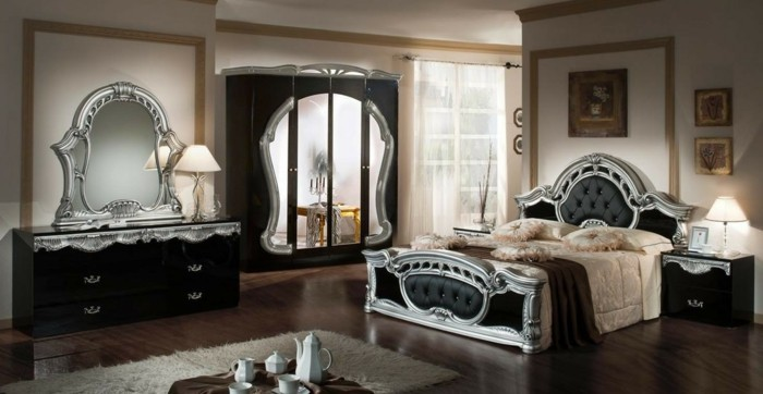 innendesign rokoko schlafzimmer silberne akzente schwarze möbel teppich