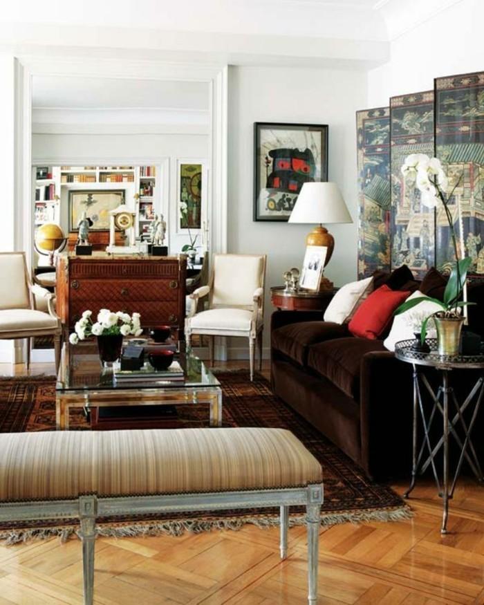innendesign wohnideen wohnzimmer braunes sofa parkett