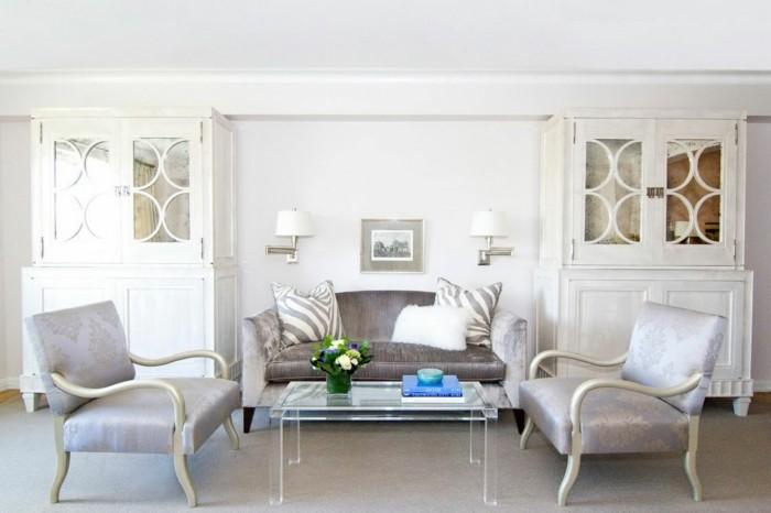 innendesign wohnideen wohnzimmer luxuriös teppichboden transparenter couchtisch