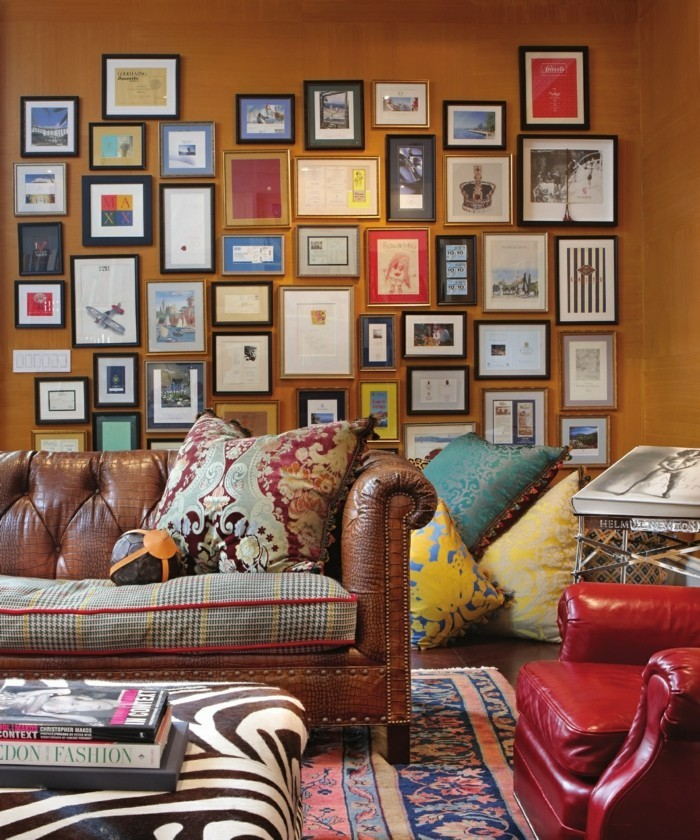 innendesign wohnzimmer einrichten eklektik muster