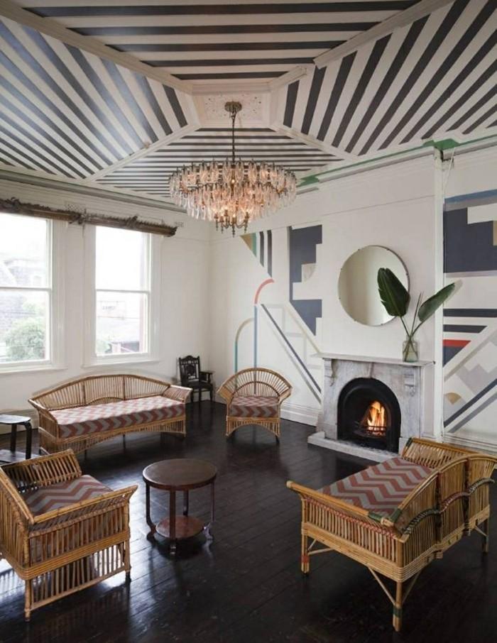 innendesign wohnideen wohnzimmer coole zimmerdecke dunkler bodenbelag