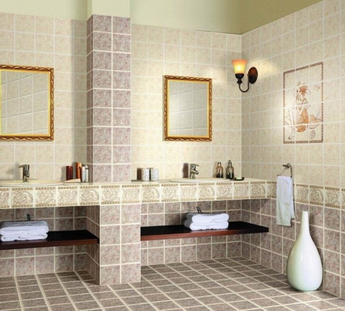 inneneinrichtung badideen badezimemrfliesen dekoideen römischer stil