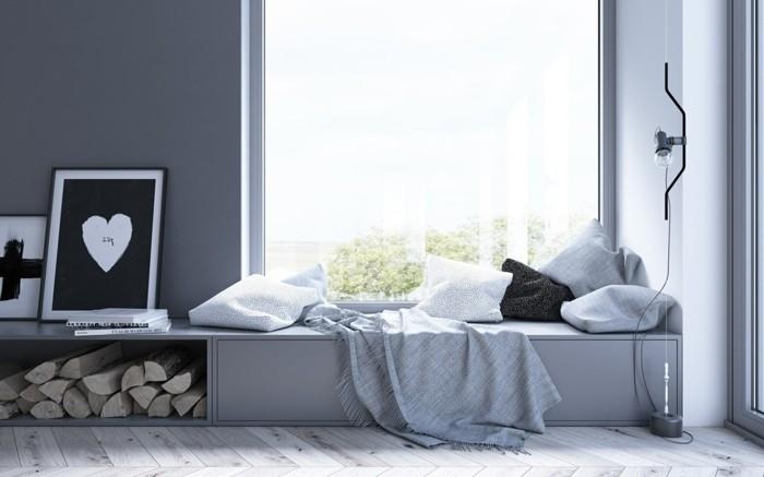 inneneinrichtung erholungsbereich skandinavischer stil graue wandfarbe