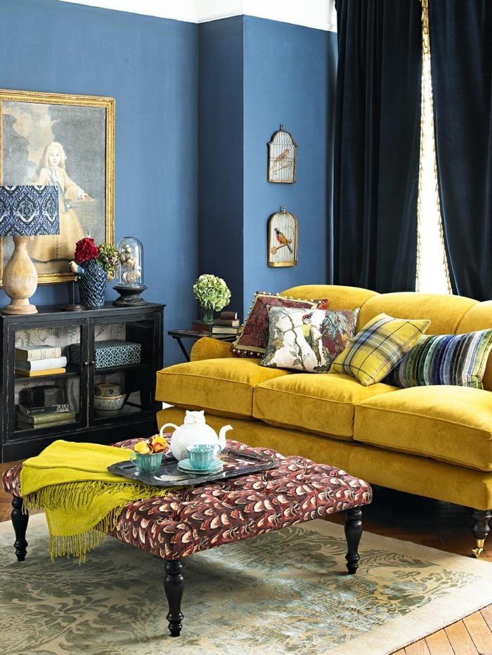 wohnzimmer blau gelb:inneneinrichtung ideen wohnideen wohnzimmer blaue wandfarbe gelbes