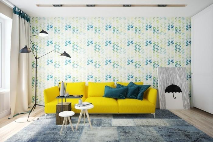 Inneneinrichtung Ideen Tapeten : inneneinrichtung ideen wohnzimmer gelbes sofa tapeten
