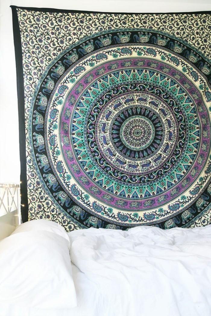 inneneinrichtung retro schlafzimmer mandala dekoideen hippie stil