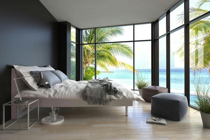 inneneinrichtung schlafzimmer umweltstil graue akzente