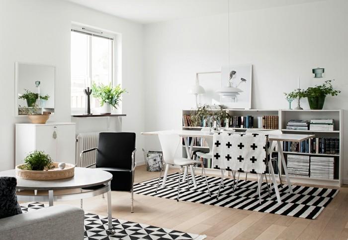 inneneinrichtung wohnbereich gestalten geometrische muster holzboden weiße wände