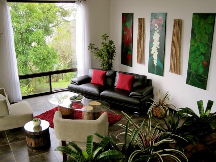 inneneinrichtung wohnideen wohnzimmer pflanzen rote dekokissen