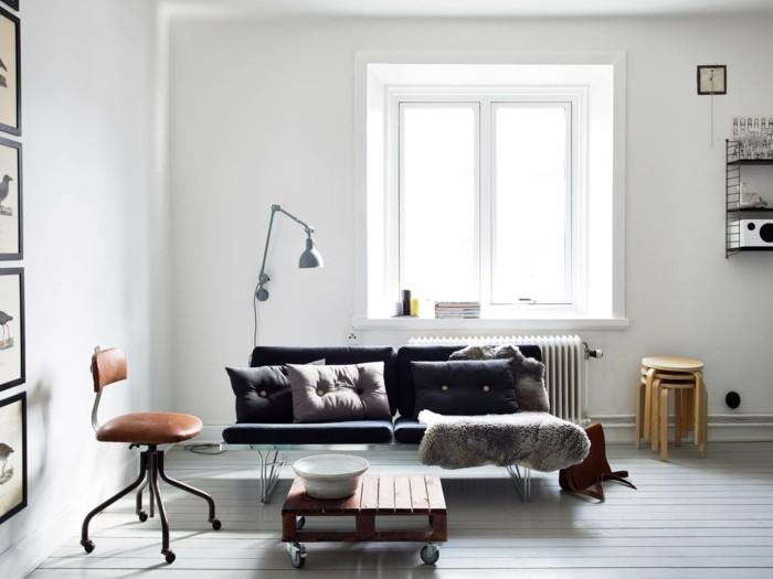inneneinrichtung wohnzimmer couchtisch räder beistelltische