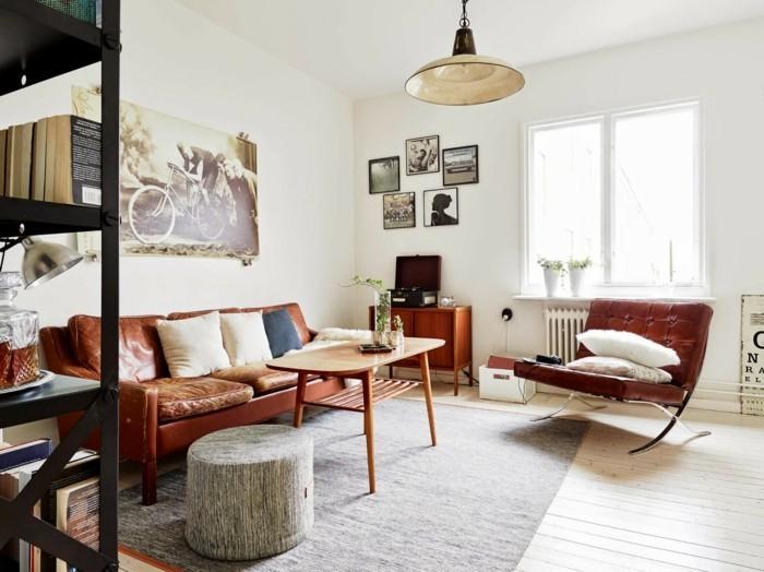 inneneinrichtung wohnzimmer einrichten ledermöbel grauer teppich