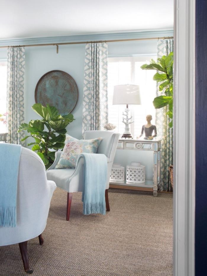 inneneinrichtung wohnzimmer ideen pflanzen hellblau