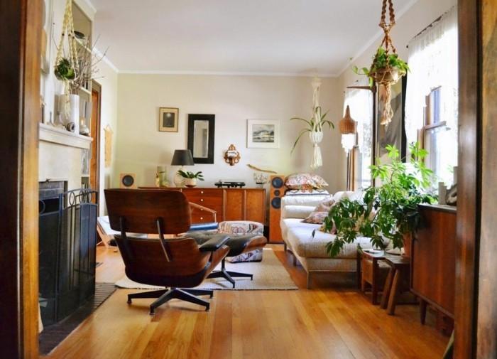inneneinrichtung wohnzimmer pflanzen dekoideen hellgelbe wände