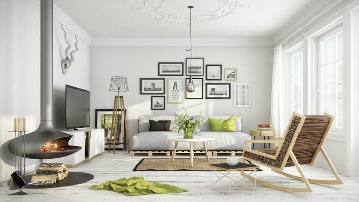 inneneinrichtung wohnzimmer skandinavisch grüne akzente