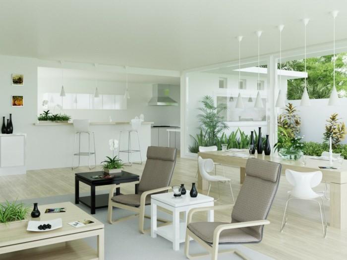 inneneinrichtung wohnzimmer umweltstil pflanzen neutrale farben