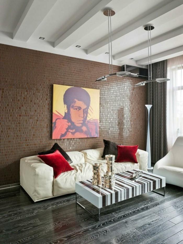inneneinrichtung wohnzimmer weiße möbel schönes wanddesign cooler couchtisch