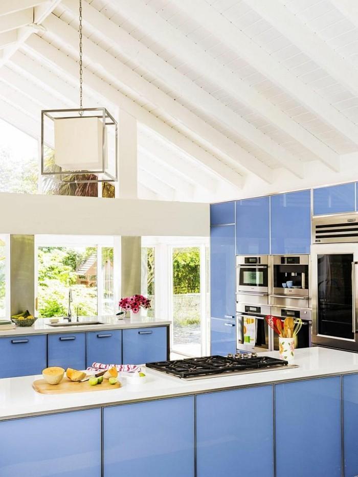küchendesign blaue küchenschränke küche einrichten ideen