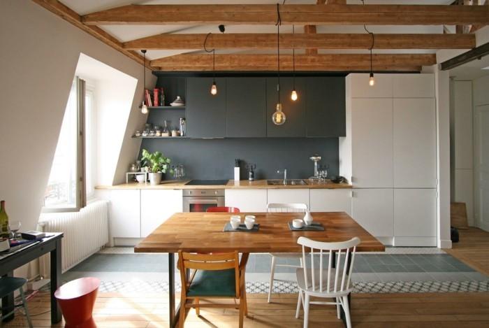 Dachgeschosswohnung kücheneinrichtung mansarde dachschräge deko ideen küche11