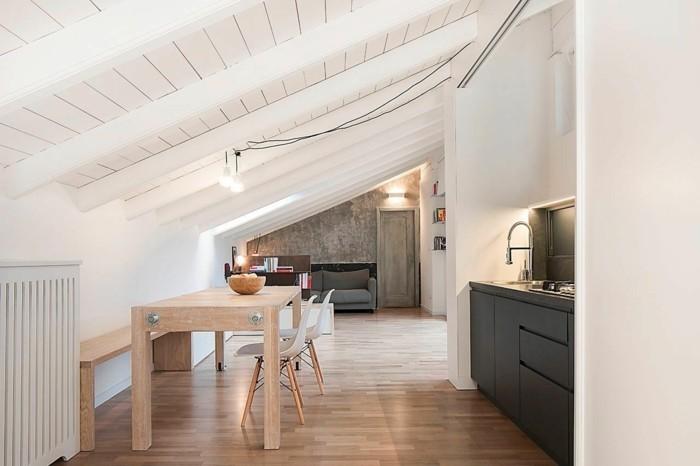 Dachgeschosswohnung kücheneinrichtung mansarde dachschräge deko ideen küche13