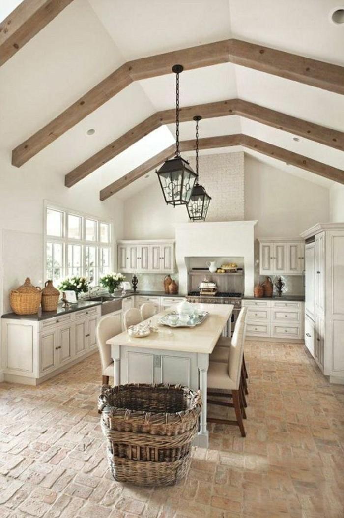Dachgeschosswohnung kücheneinrichtung mansarde dachschräge deko ideen küche15