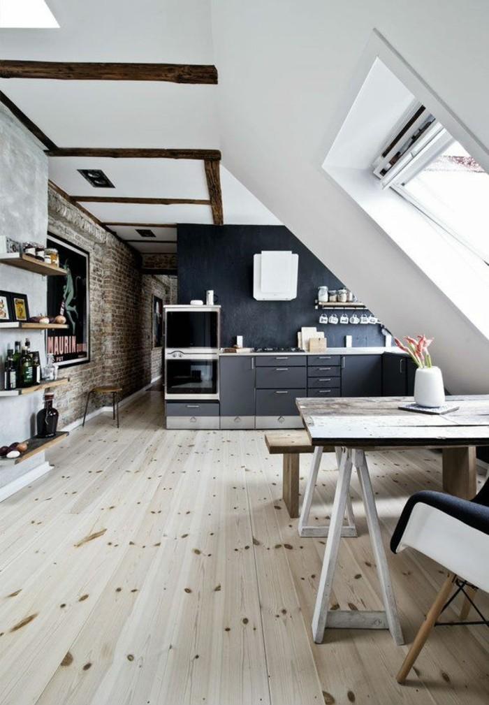 Dachgeschosswohnung kücheneinrichtung mansarde dachschräge deko ideen küche18