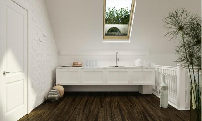 Dachgeschosswohnung kücheneinrichtung mansarde dachschräge deko ideen küche2